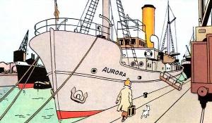 """La Estrella Misteriosa. Barco """"Aurora"""". (Fuente: Editorial Juventud-Barcelona)"""