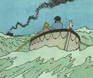 "Tintín y Haddock huyen del ""Karaboudjan"". Fotografía: Editorial Juventud-Barcelona"