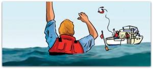 El chaleco salvavidas es importante llevarlo puesto en un barco pequeño (Imagen Salvamento Marítimo)