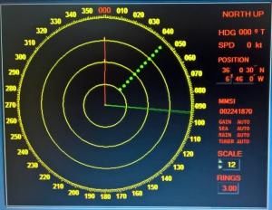Señal de 12 puntos vista en un radar a 3 millas de distancia